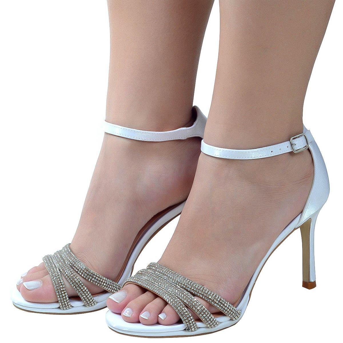 58491eef5 Sandalia Branco Strass Noiva Branco - Laura Prado