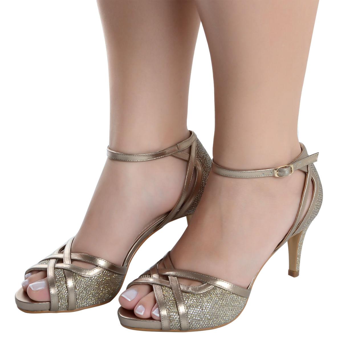 d0cee47da Sandalia Alta Glitter Prata Velho - Laura Prado