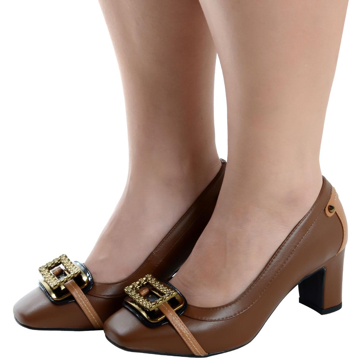 9e7cc2a94 Sapato Salto Grosso Caramelo - Laura Prado