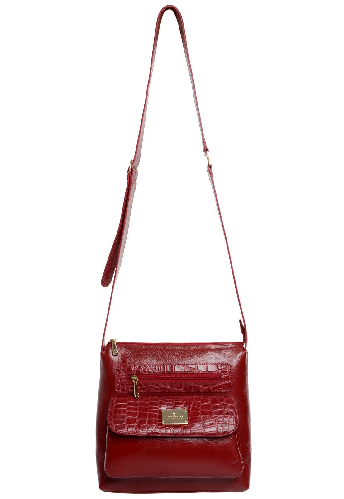 Bolsa Em Couro Transversal Vermelho Croco - Laura Prado 2f5cb02e1a0