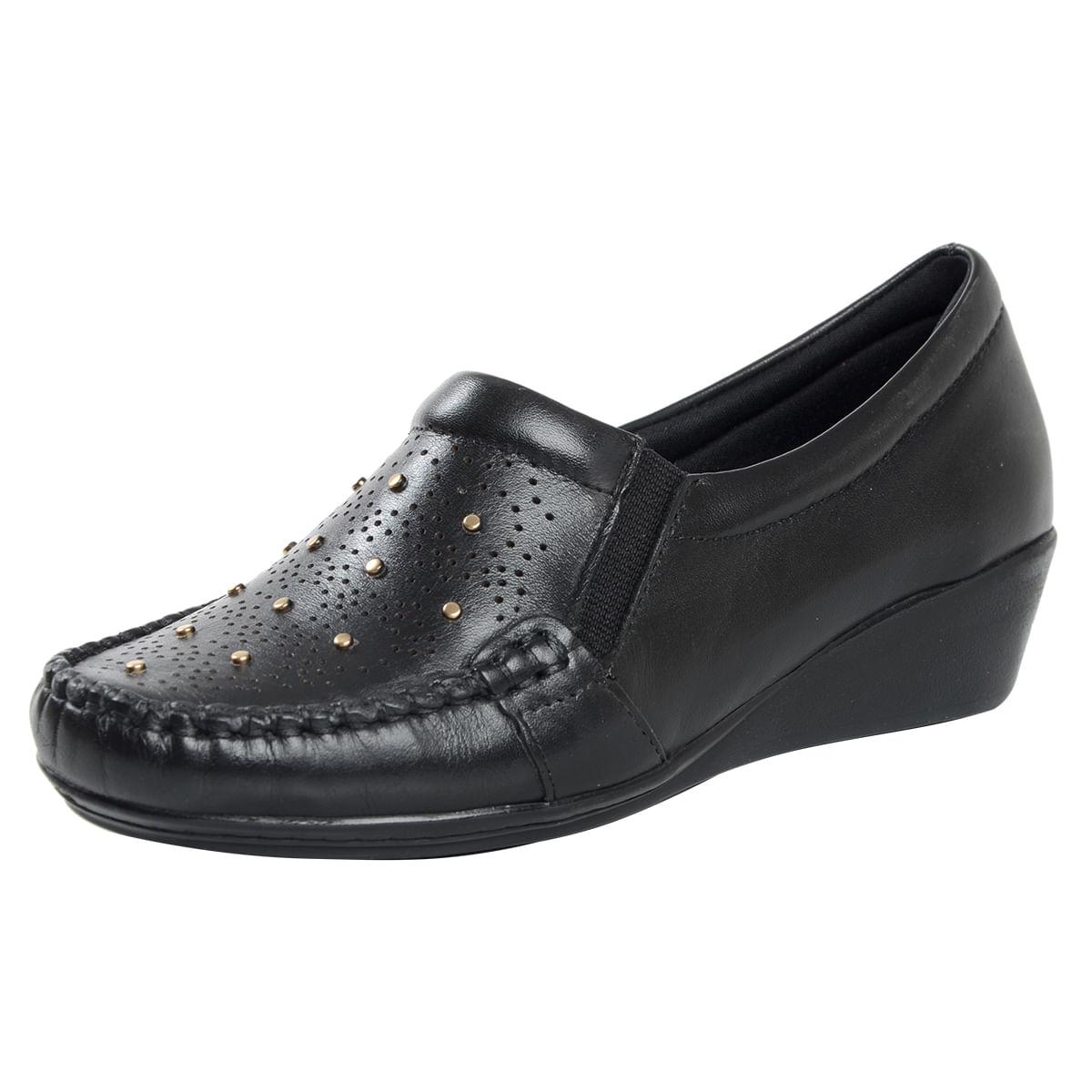 54be2535c2 Sapato Fechado Confort Anabela Preto - Laura Prado