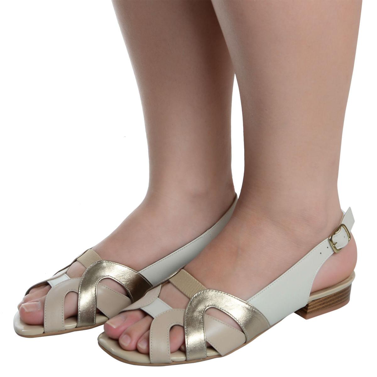 2ef17ce54f Sandalia Salto Baixo Confort Marfim - Laura Prado