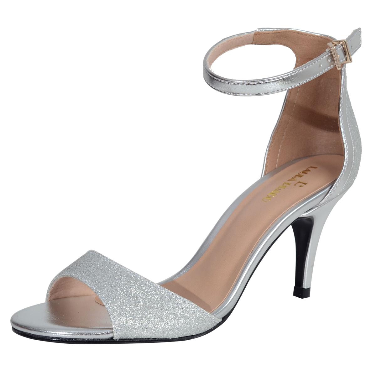 3c15755b7 Sandalia Salto Medio Glitter Prata - Laura Prado